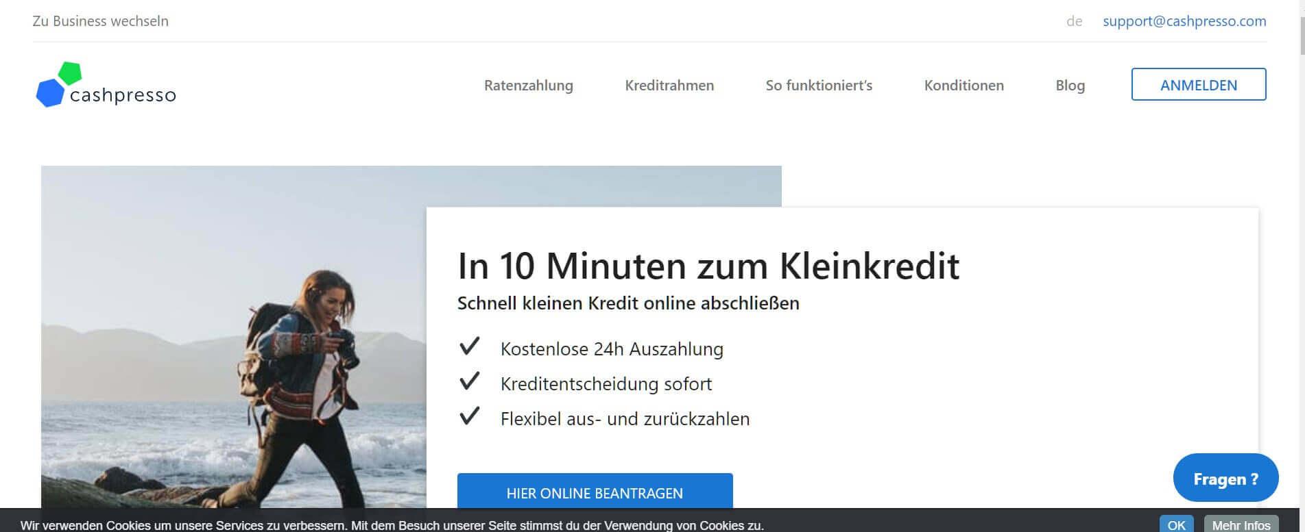 Kleinkredit online Cashpresso