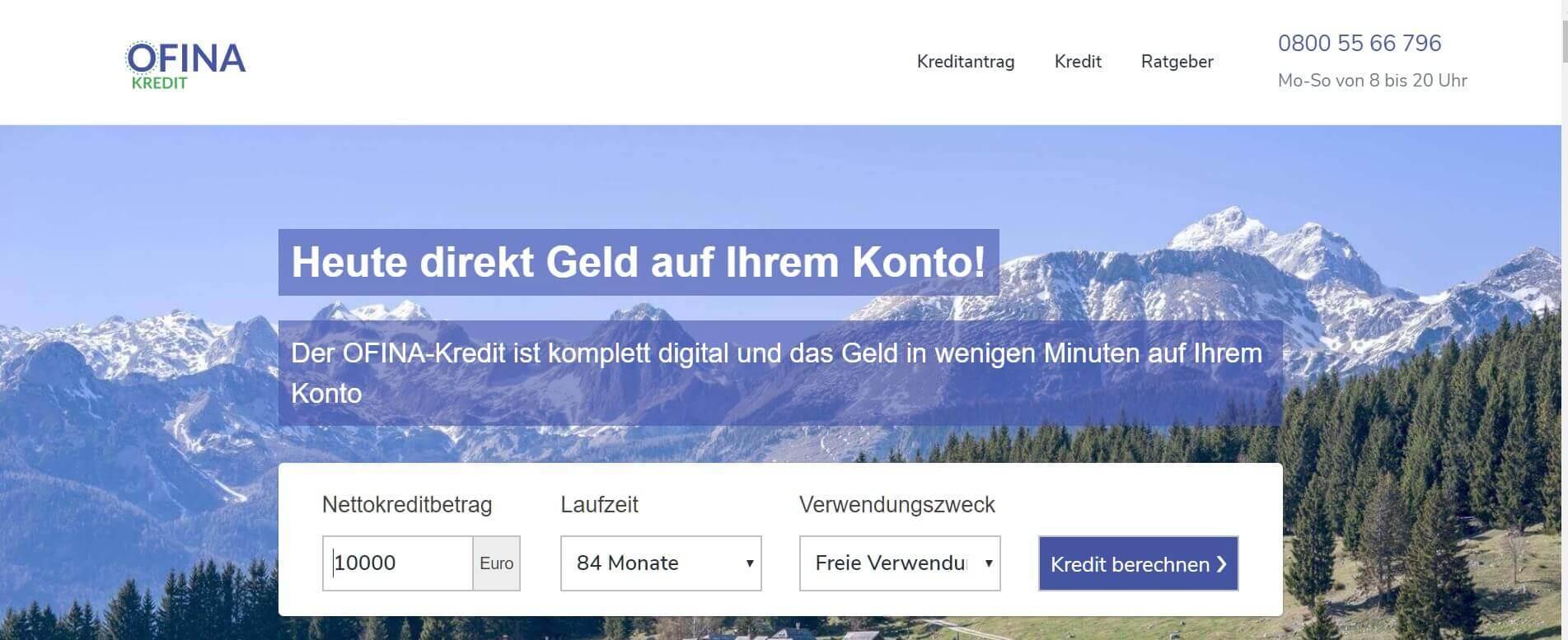 Kleinkredit online OFINA Kredit