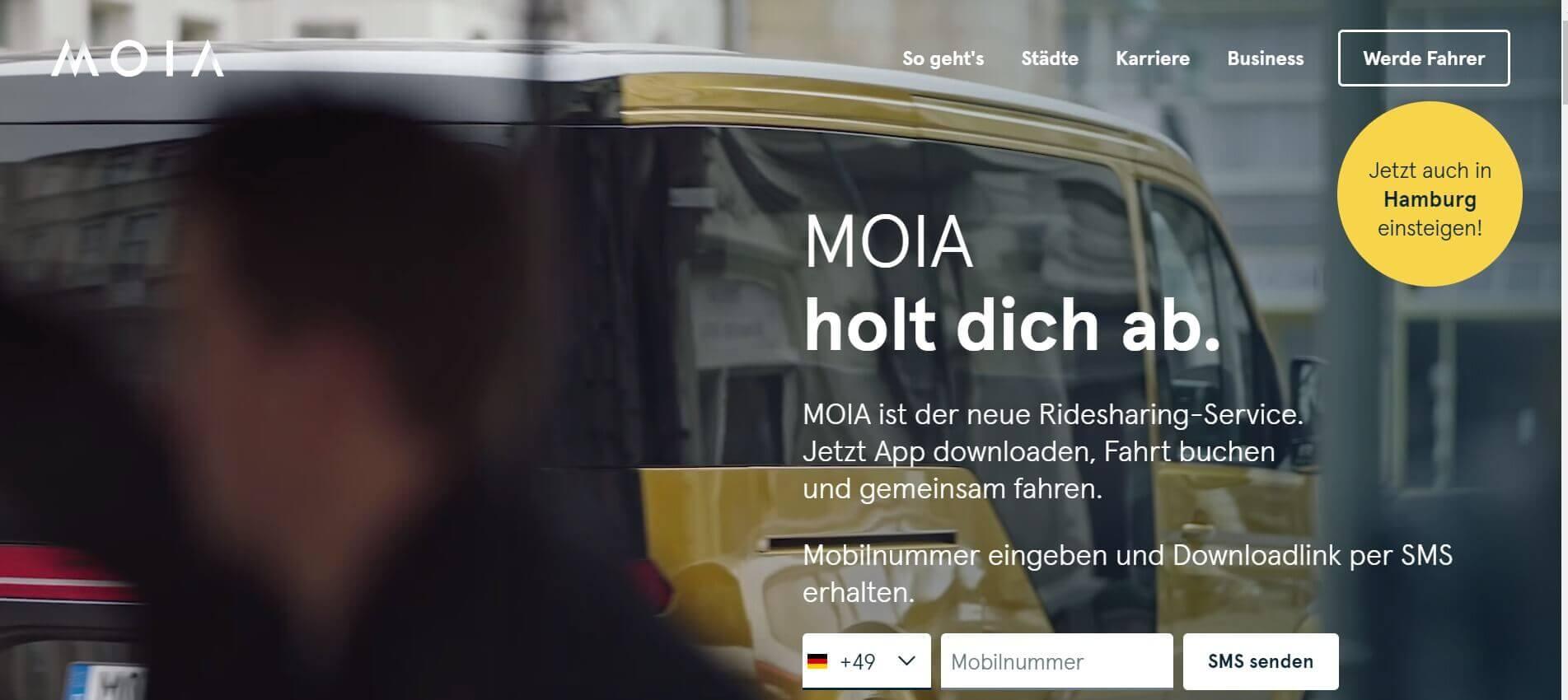 Beste Taxi App MOIA