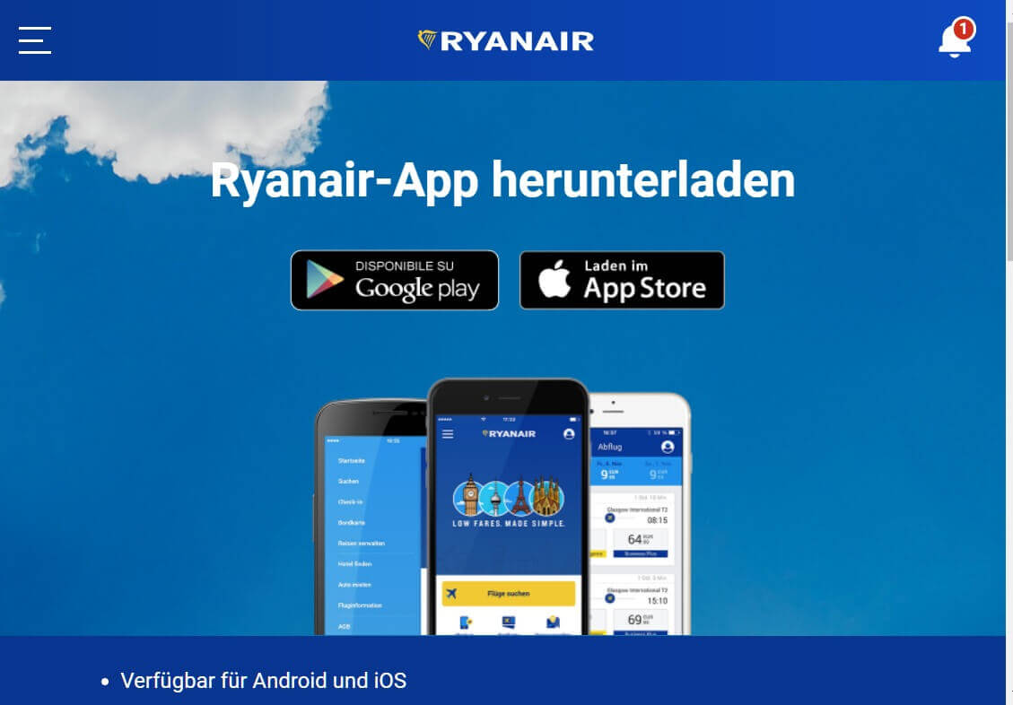 Check in App Ryanair 1