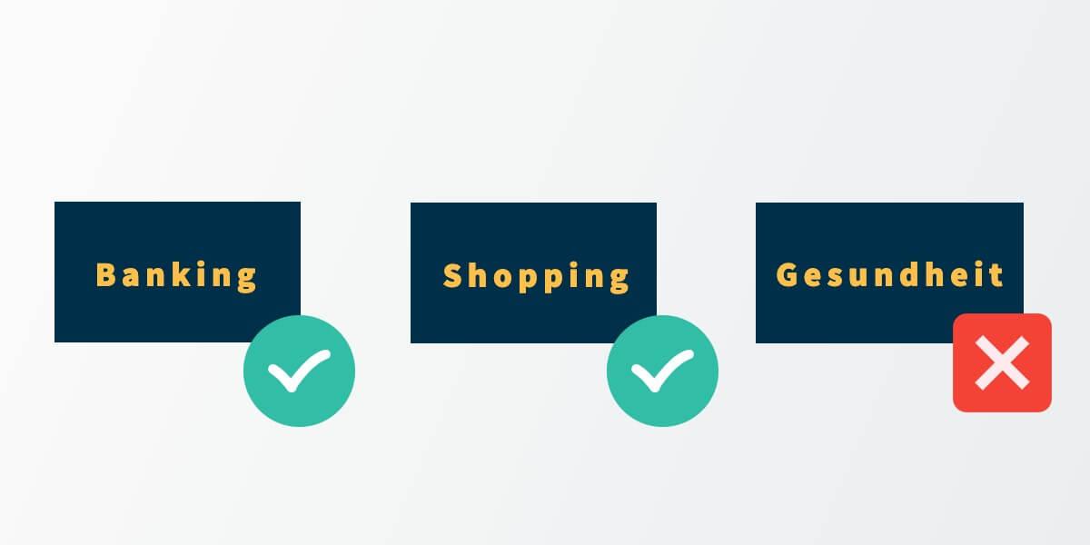 Banking Shopping Gesundheit   digitale Patientenakte