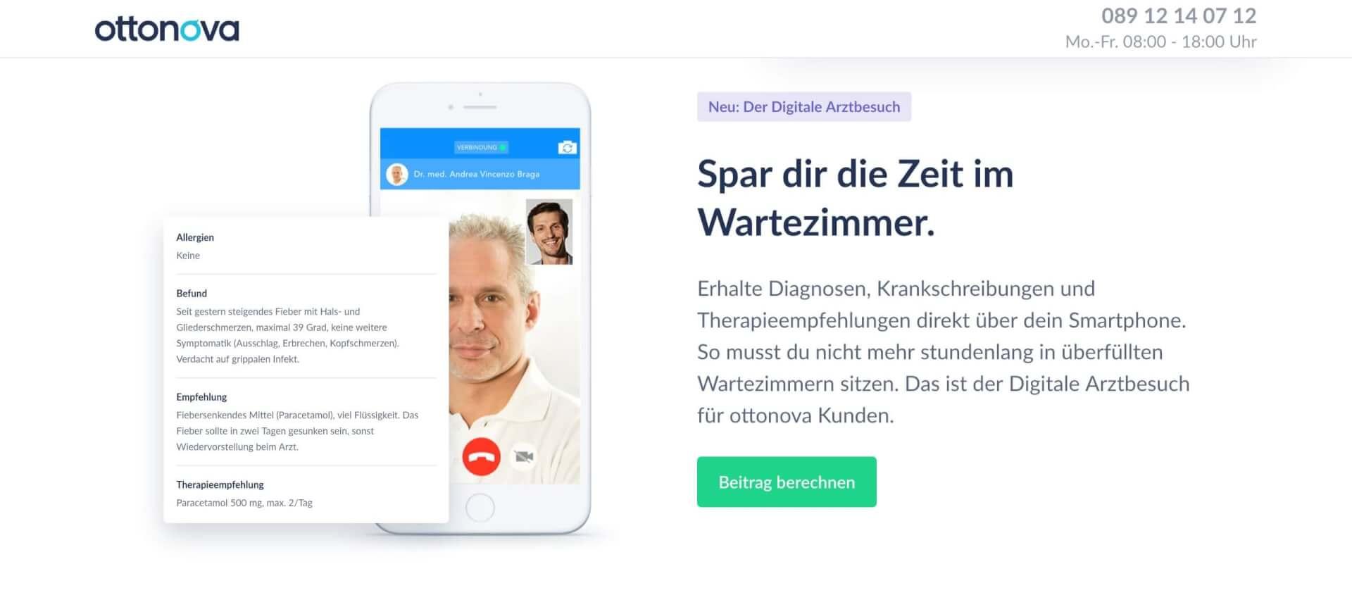 Digitaler Arztbesuch online krankenschein bekommen ottonova