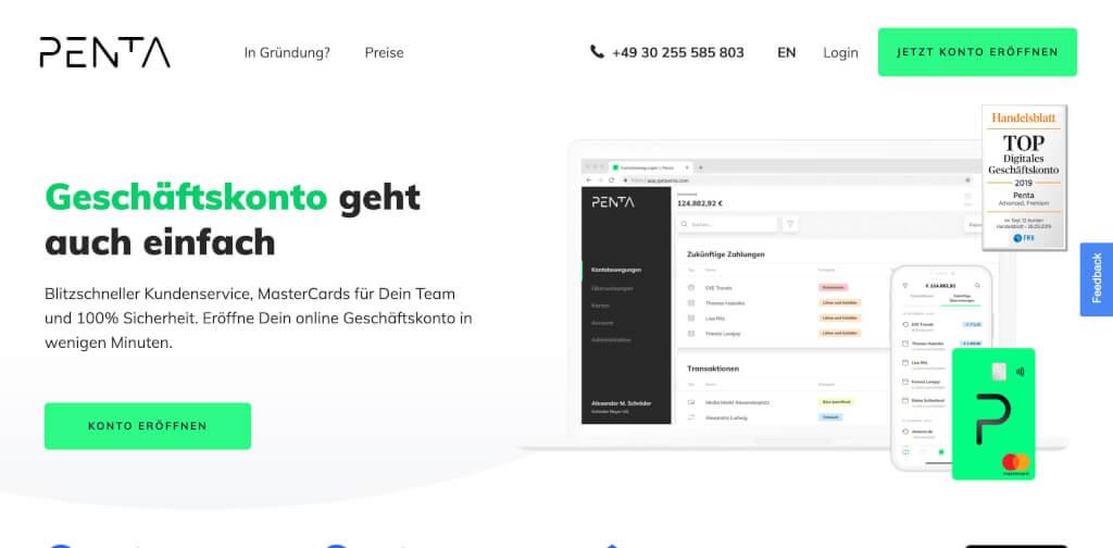 Kostenloses Online Geschaeftskonto Penta Firmenkonto Fintech Banken