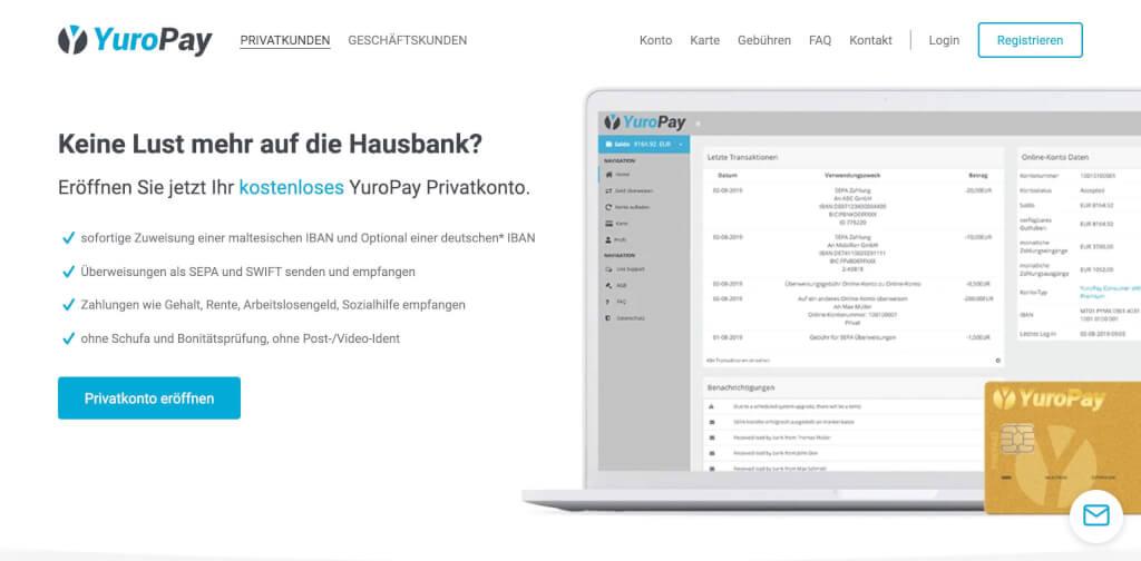 Online Konten YuroPay   Fintech Bank