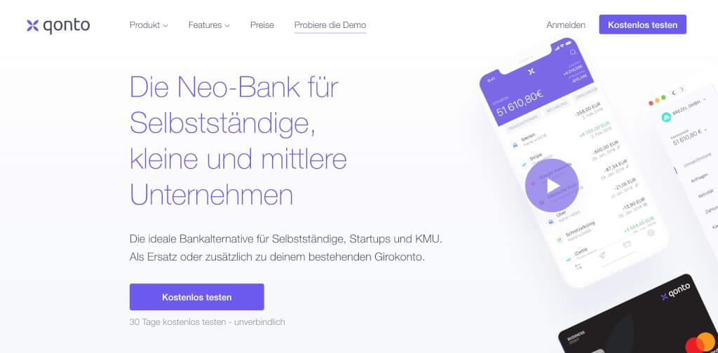 Qonto professionelle Girokonto   Fintech Banken Vergleich