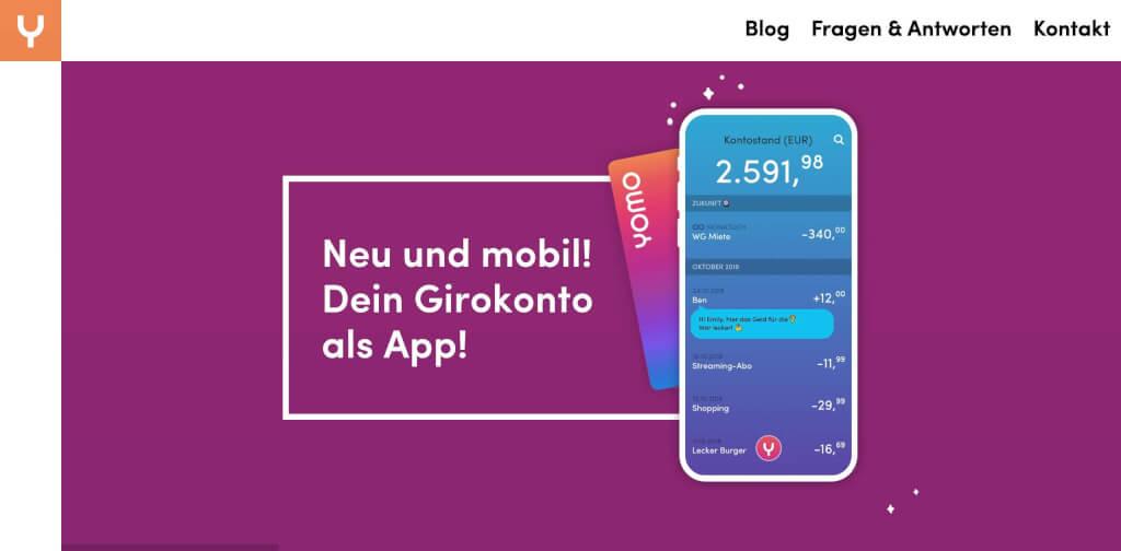 yomo mobiles Girokonto Smartphone   fintech bank