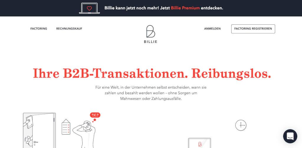 Billie Factoring Anbieter Startseite 1