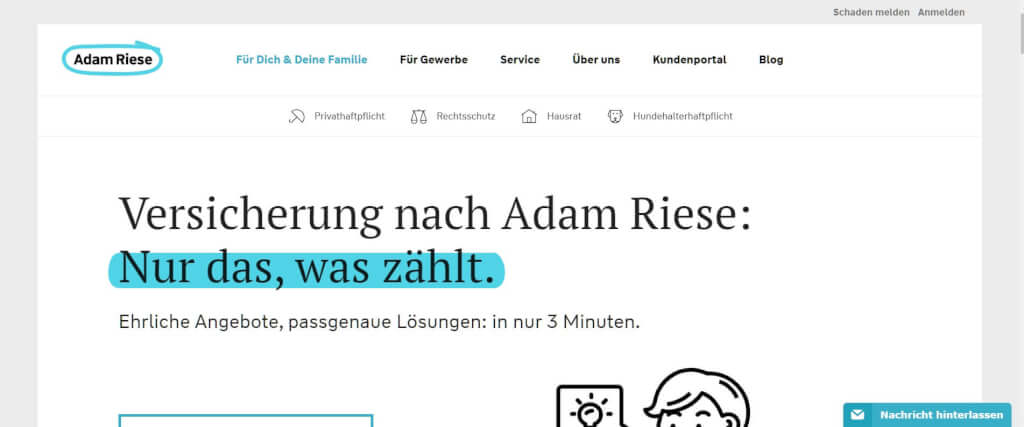 Digitale Versicherung Adam Riese
