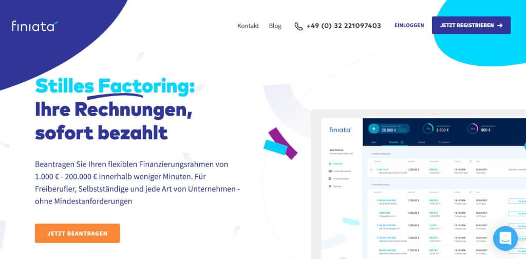 Factoring Rechnungsvorfinanzierung Finiata Startseite 1