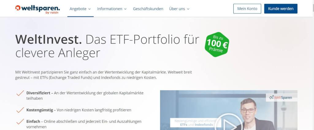 Digitale Vermoegensverwaltung WeltInvest WeltSparen