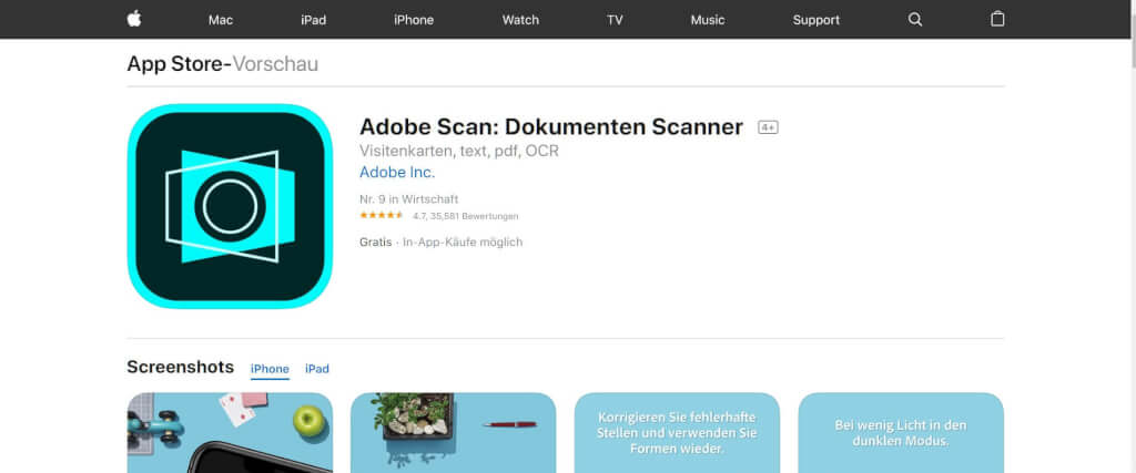 Scan Apps Adobe Scan Dokumenten Scanner App Store