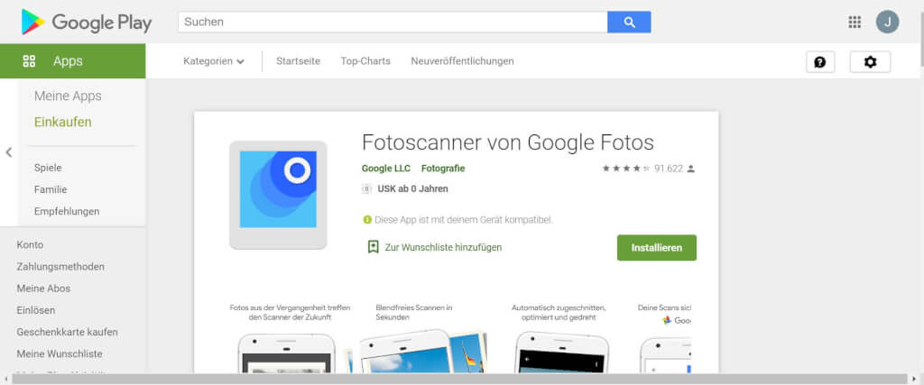 Scan Apps Fotoscanner von Google Fotos Google Play