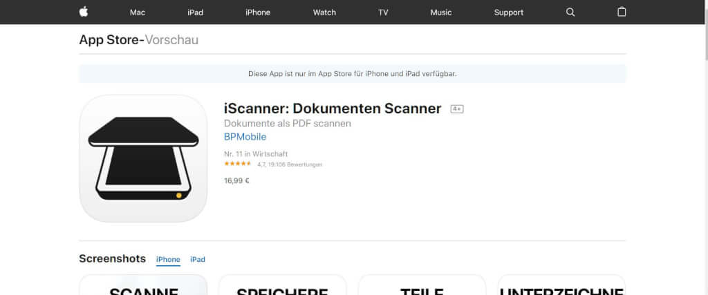 Scan Apps iScanner App Store