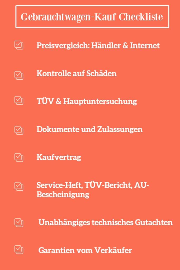 Gebrauchtwagen online Grafik Checkliste