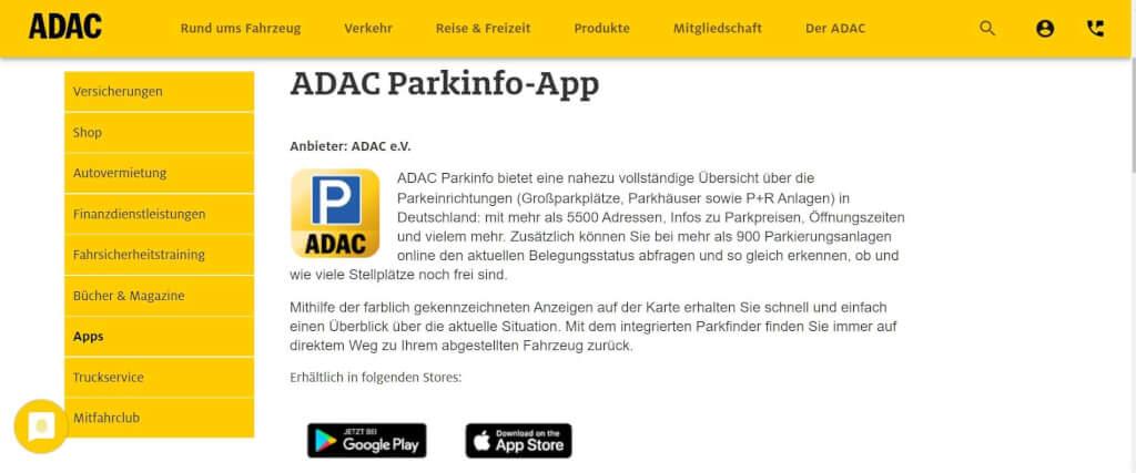 Parkplatz App ADAC ParkInfo App