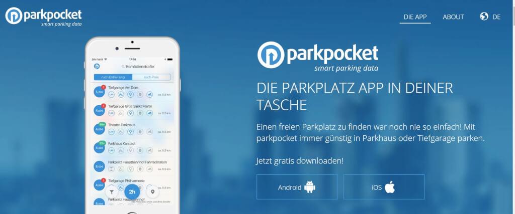 Parkplatz App parkpocket