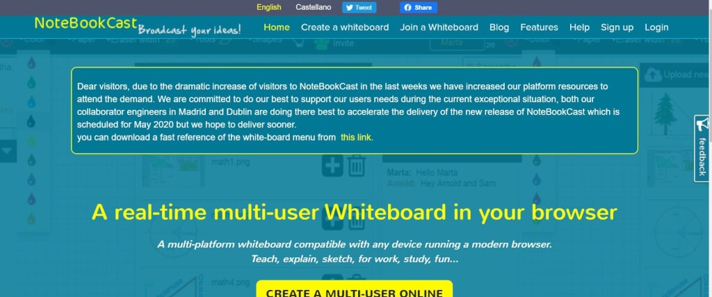 Online Whiteboard Tools NoteBookCast