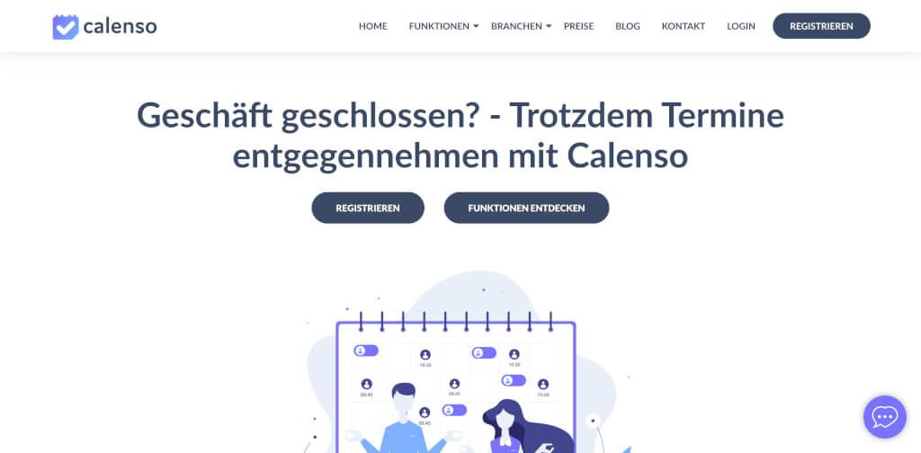 Calenso Online Terminvereinbarung Startseite