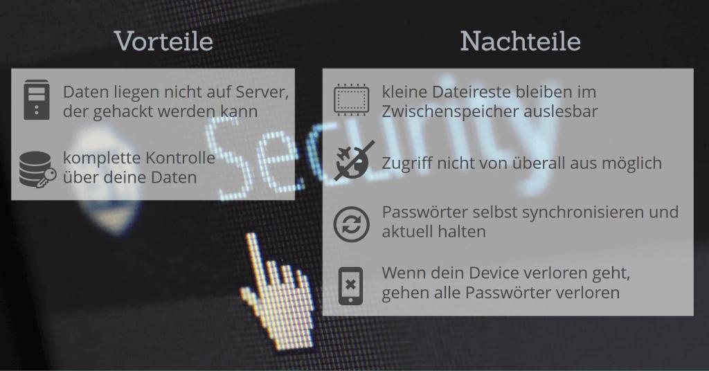 passwort manager vorteile nachteile offline zusammenfassung