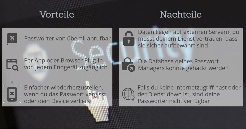 passwort manager vorteile nachteile online zusammenfassung