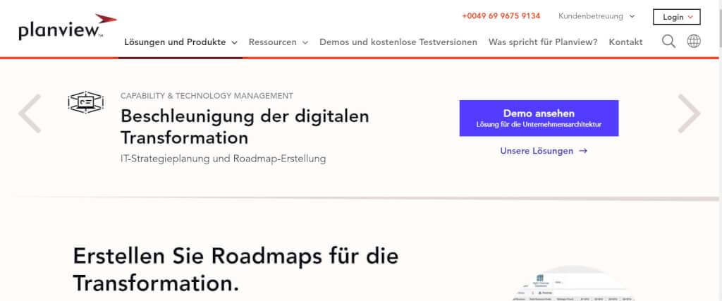 Digitale Roadmap Planview