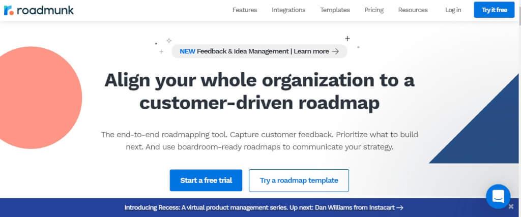Digitale Roadmap Roadmunk