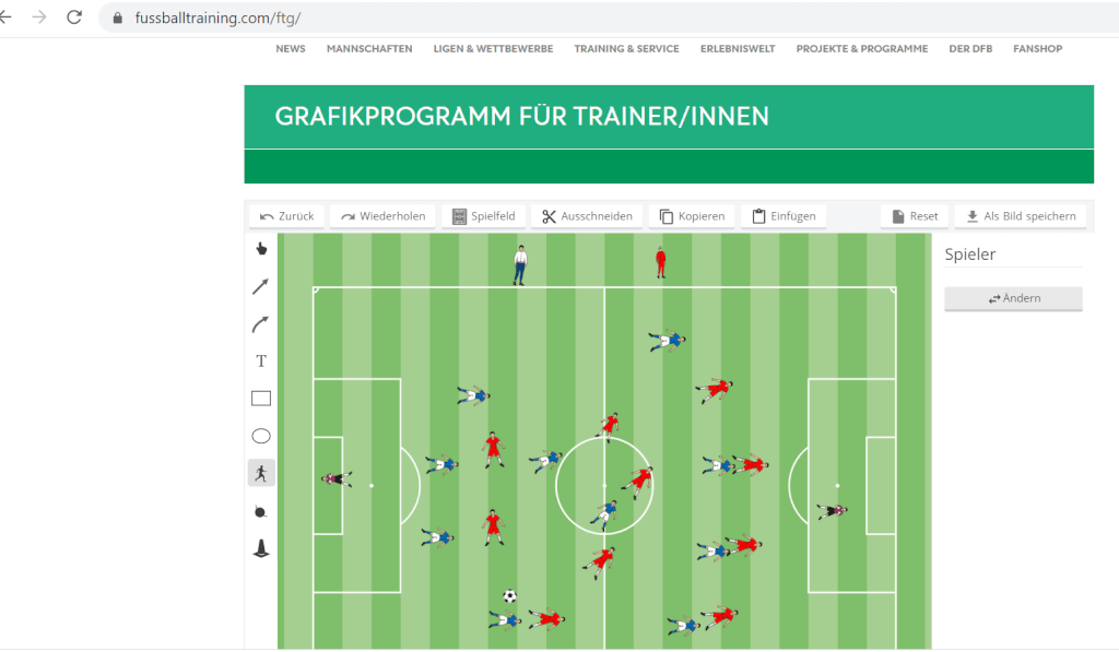 Virtuelle Taktiktafel Fussballtrainingcom taktik screenshot
