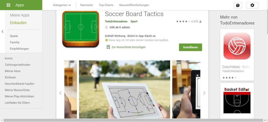 Virtuelle Taktiktafel Soccer Board Tactics