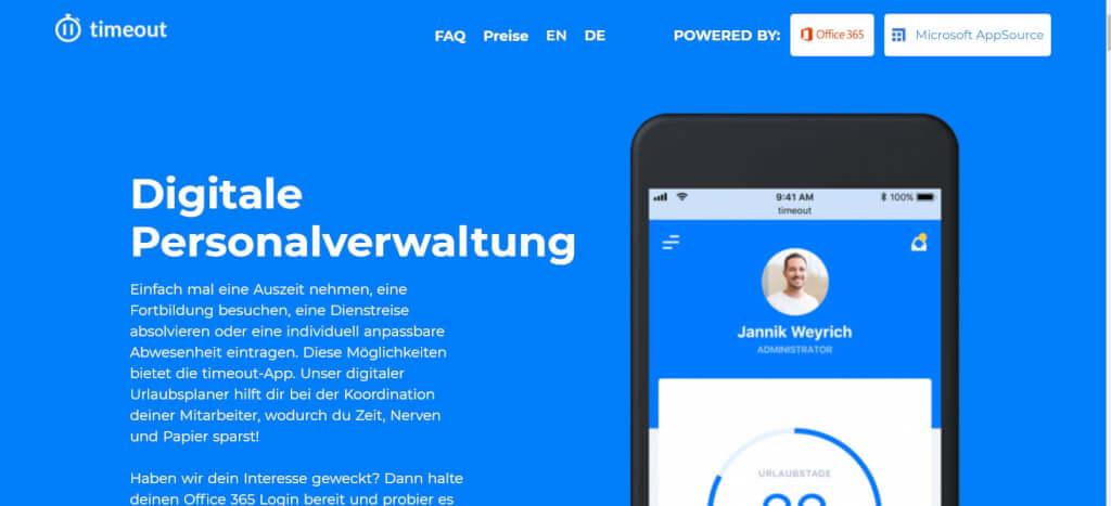 Digitale Urlaubsverwaltung timeout App