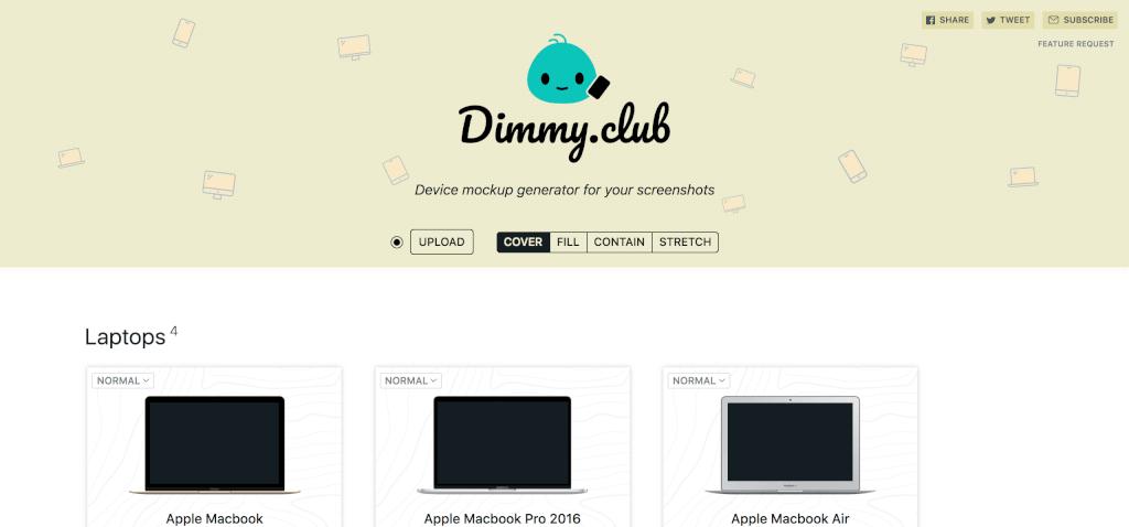 Dimmy club Mockups erstellen