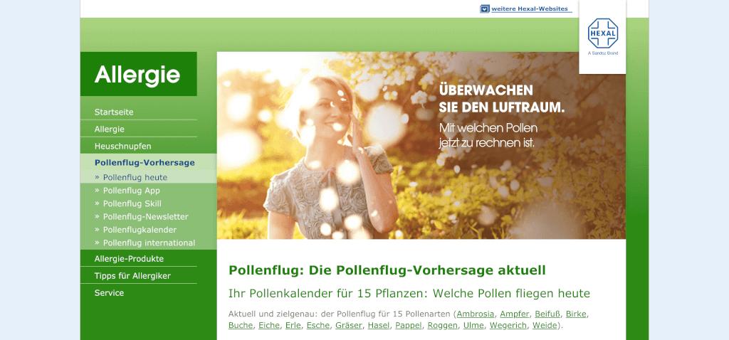 Gesundheitsapps Pollenflug Vorhersage Allergie HEXAL