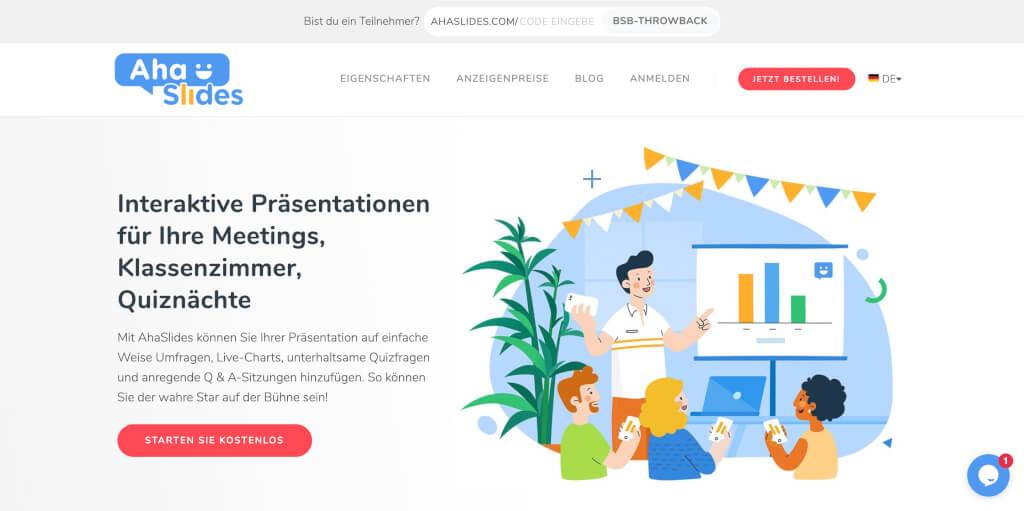 Interaktive Praesentationssoftware fuer Ihre Meetings und Klassenzimmer AhaSlides