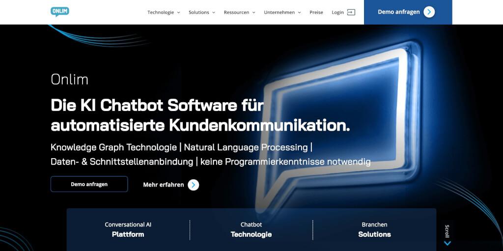 KI Chatbot und Sprachassistenten Software von Onlim