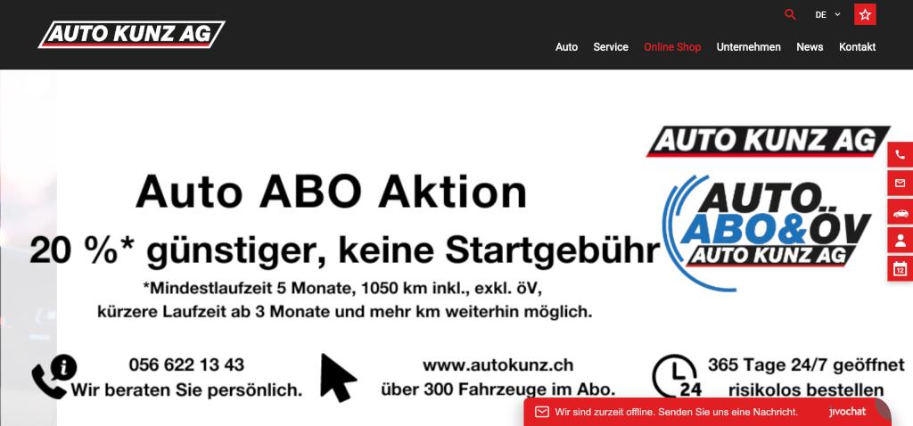 Auto Abo Auto Kunz Schweiz