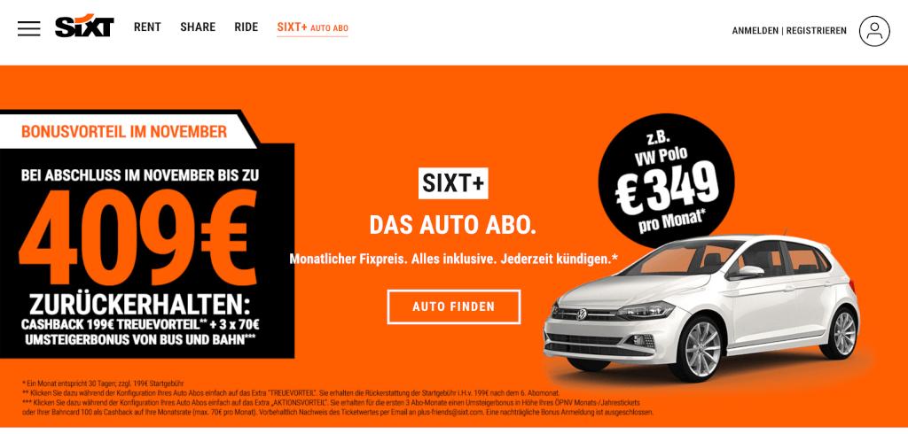 Auto Abo Schweiz SIXT Plus