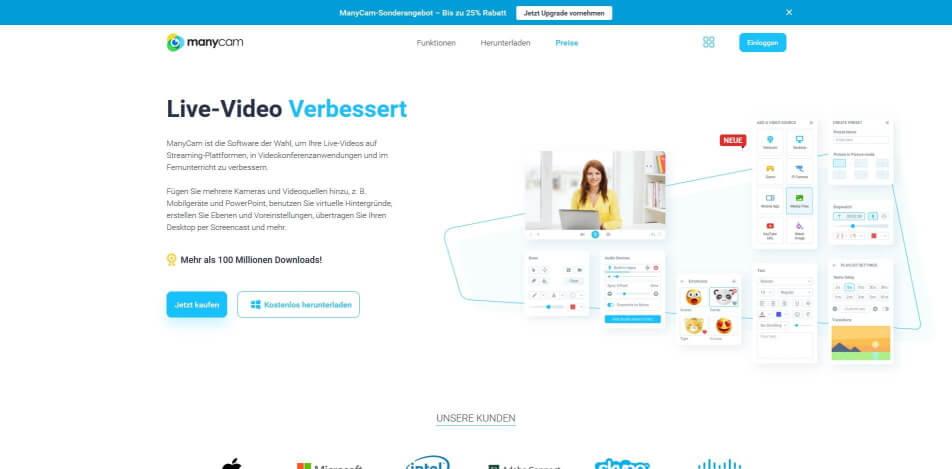 beste live streaming software kostenlos manycam