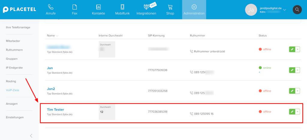 VoIP Ziele Placetel verwalten