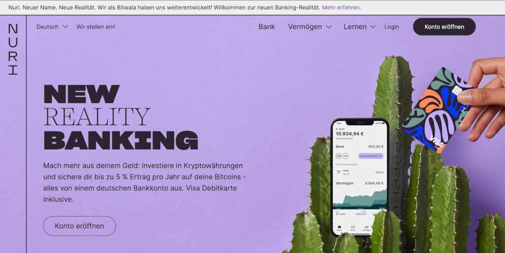 Nuri vormals Bitwala New Reality Banking 1