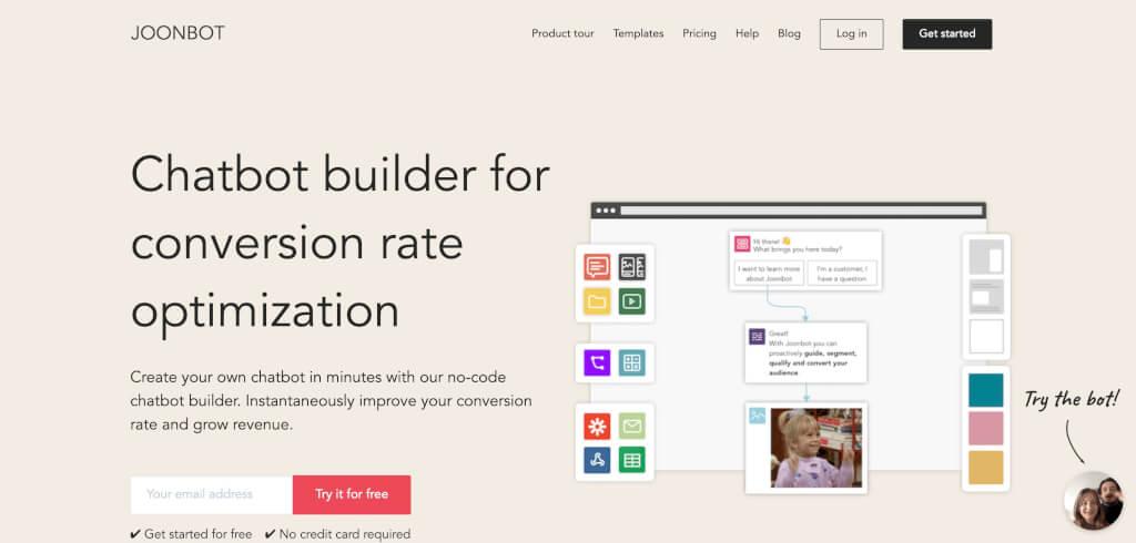 Chatbot builder for conversion rate optimization Joonbot
