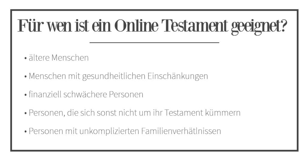 Online Testament geeignet