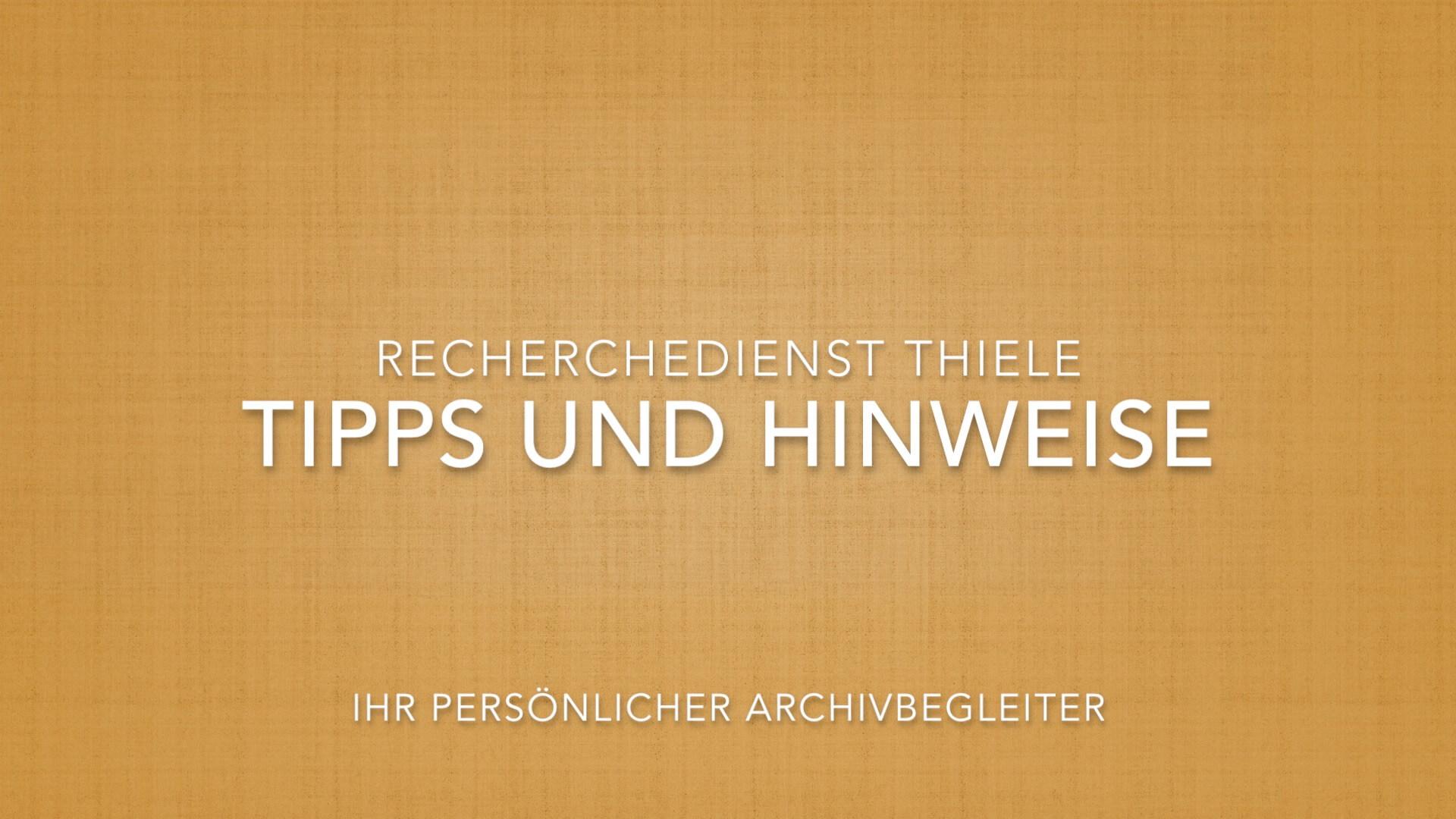 Tipps und Hinweise von Ihrem persönlichem Archivbegleiter