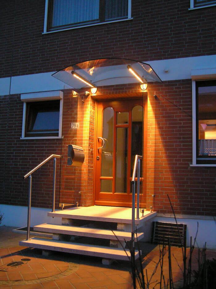 Vordach Edelstahl Beleuchtung Eingang