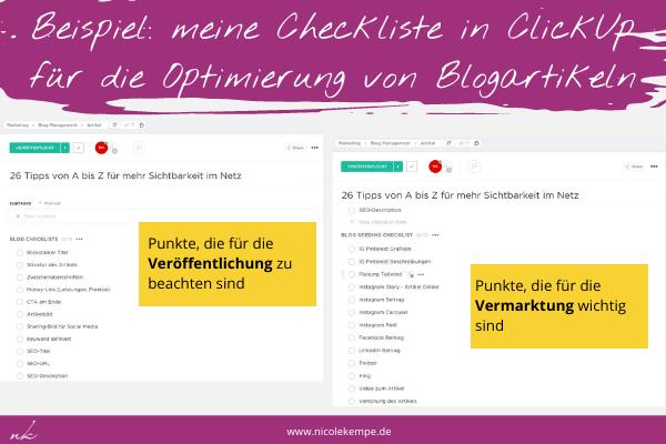 Clickup Checklisten fuer die Optimierung von Blogartikeln