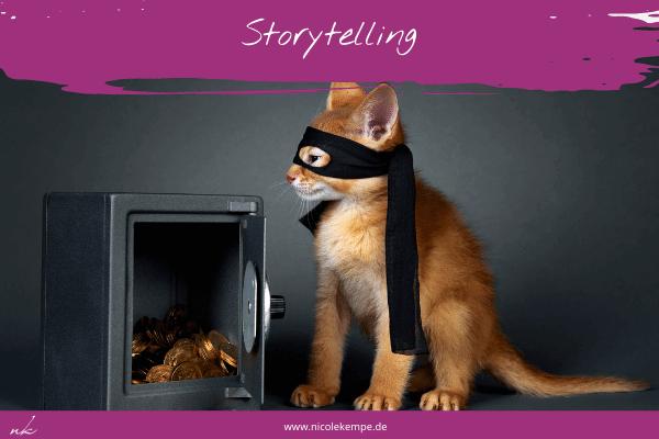 Katze vor offenem Tresor symbolisch fuer visuelles Storytelling in Social Media