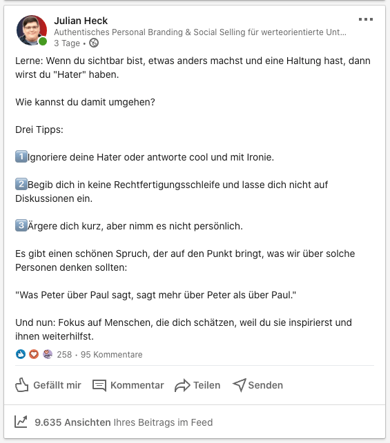 LinkedIn Post Erkenntnisse Hate