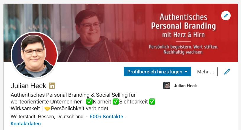 LinkedIn Profil oberer Bereich Profilfoto Profilslogan