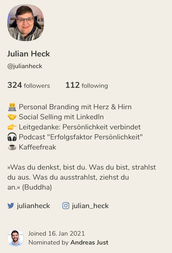 Clubhouse Screenshot Profil Julian Heck 17 01 2021