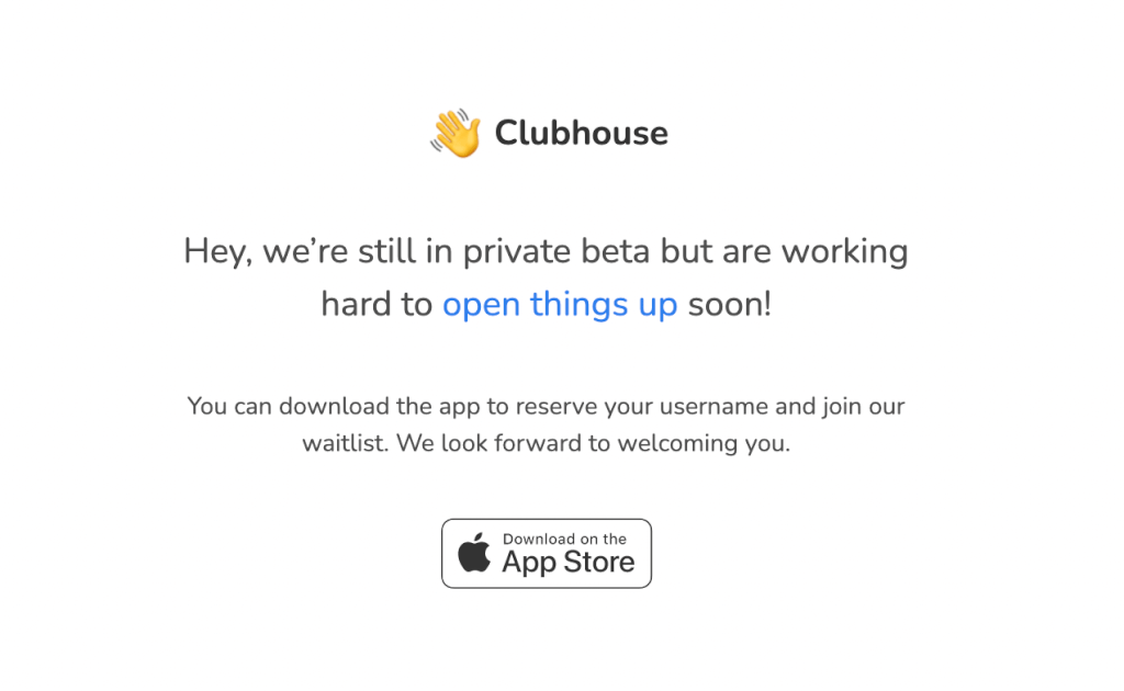 Clubhouse Startseite Screenshot 17 01 2021