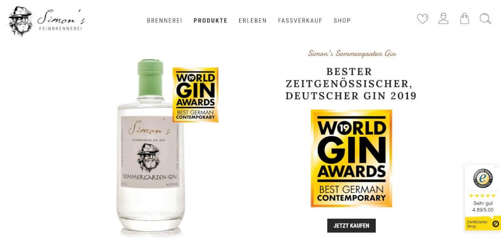 Gin Simons Sommergarten Feinbrennerei Gin Butler