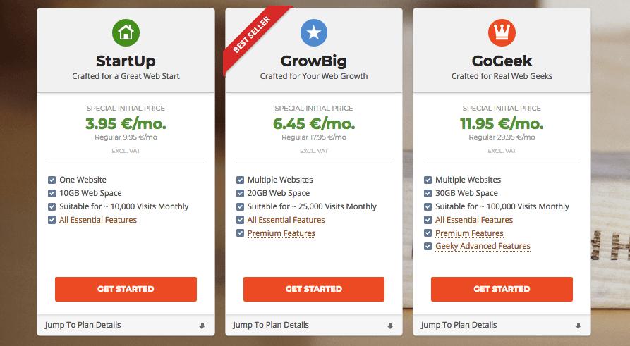 hosting siteground preise